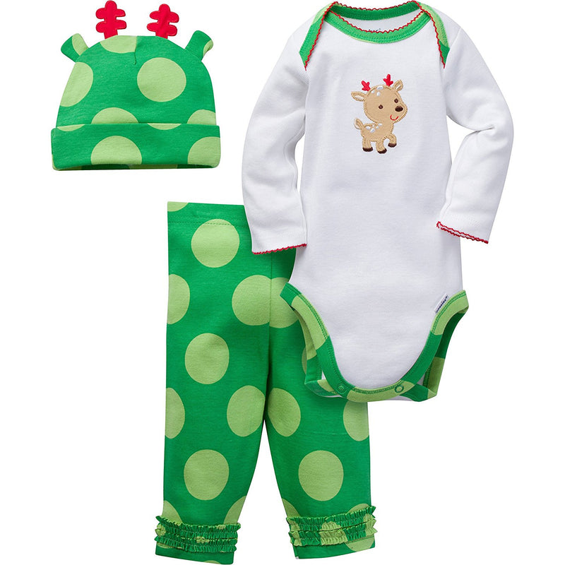 Gerber Girls Green and White Reindeer Print 3 Piece Bodysuit Set