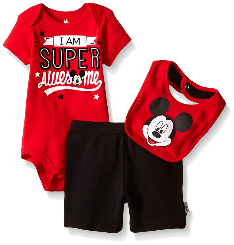 Disney Boys Red and Black Mickey Mouse 3 Piece Romper, Shorts and Bib Set