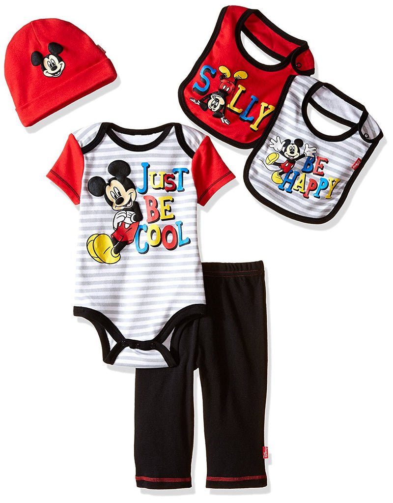 Disney Boys Red and White Mickey Mouse 5 Piece Layette Box Set
