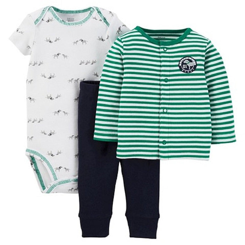 Carters Boys White and Green Just One You Baby Doggy Onesie Set
