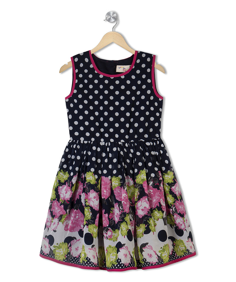Budding Bees Girls Blue Floral Printed Gathered Dress