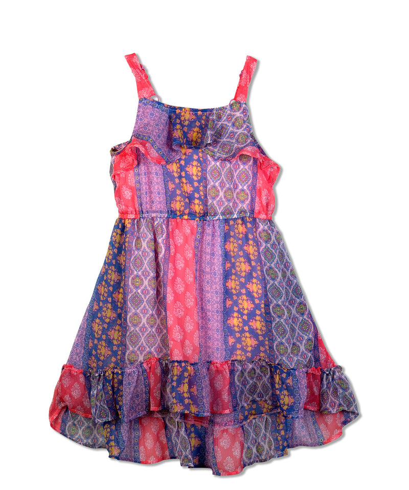 Budding Bees Girls Multicolor Gathered Dress