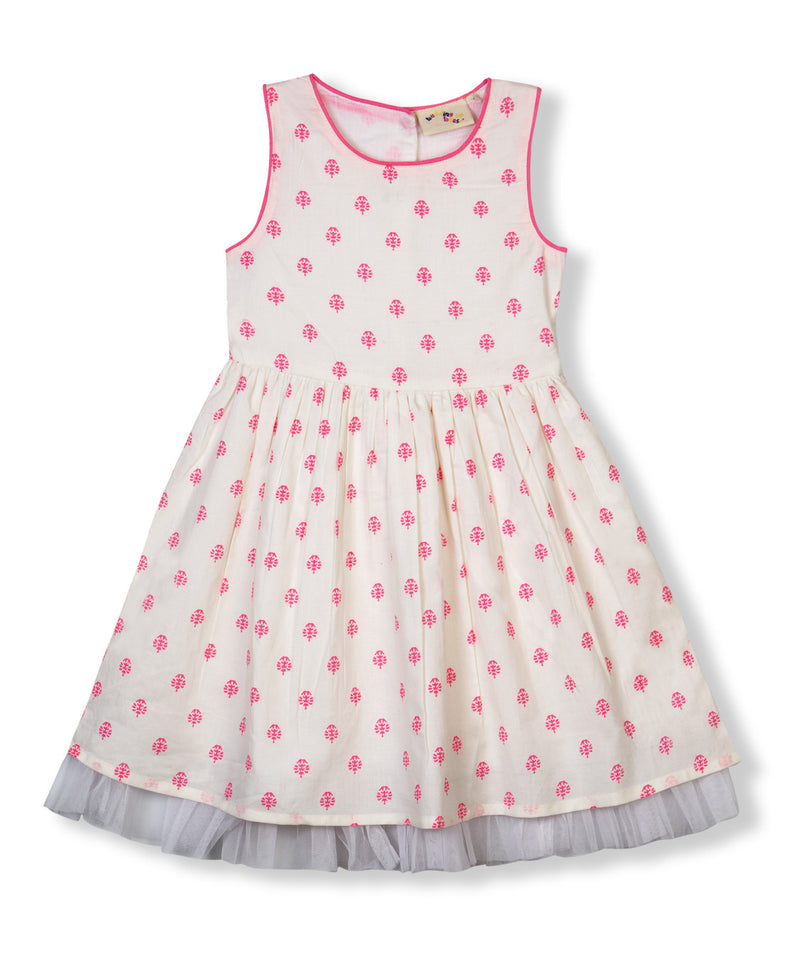 Budding Bees Girls Pink All Over Printed Fit and Flare Dress