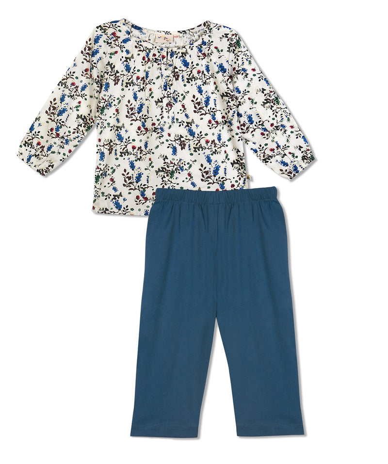 Budding Bees Girls Blue and White Floral Printed Top-Bottom Set