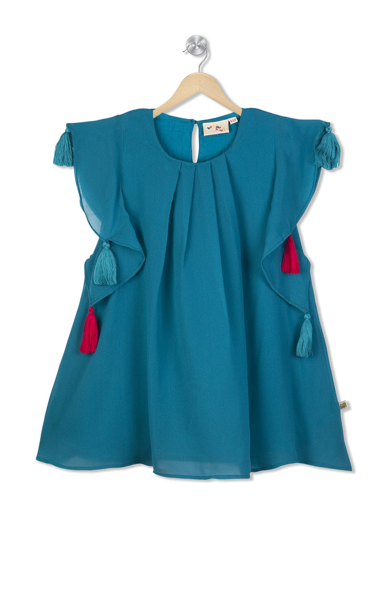 Budding Bees Girls Blue Dress