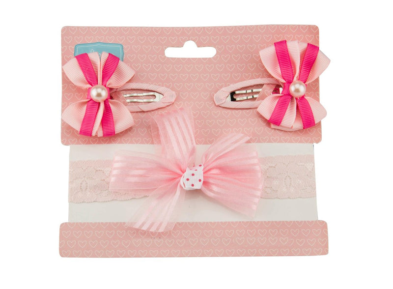 Babies Bloom Pink Cute and Cozy Headband and Clip Set