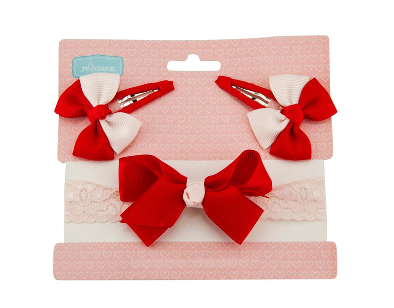 Babies Bloom Red and White Headband and Clip Set