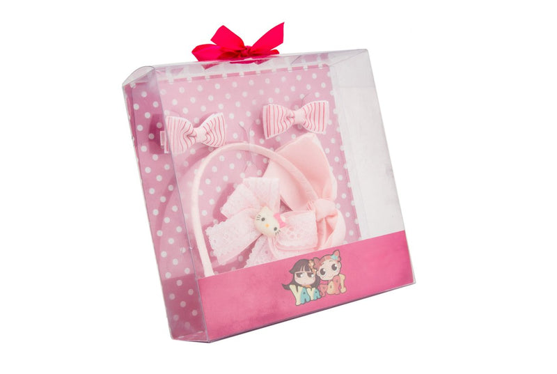 Babies Bloom Satin Pink Head Band Gift Set - Pack of 4