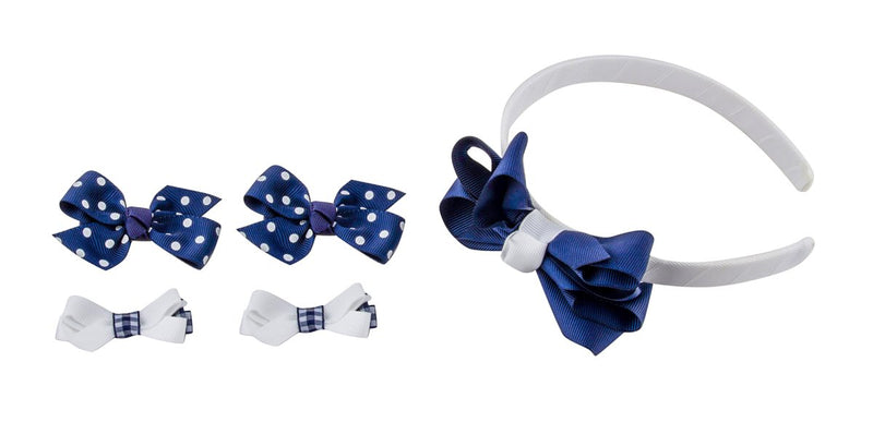 Babies Bloom Boutique Blue and White Handmade Ribbon Headband Accessory Set of 5