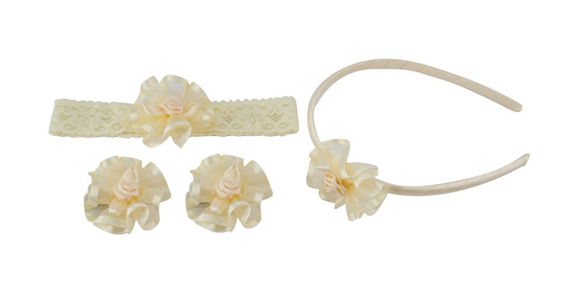 Babies Bloom Cream Baby Girl Hairgrips and Headband Set - Pack of 4
