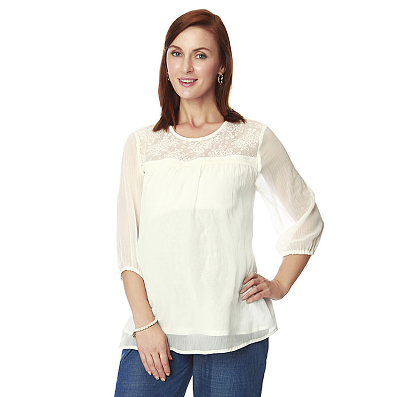 Nine Maternity White Blouse with Lace Yoke