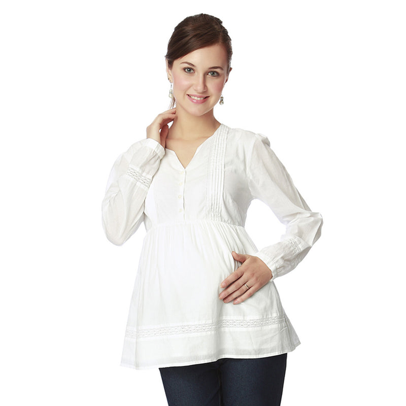 Nine Maternity White Tunic with Detailed Lace