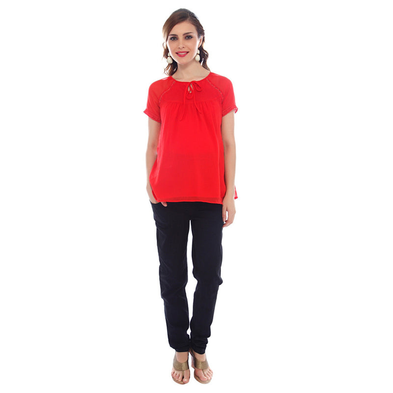 Nine Maternity Red Blouse with Lace