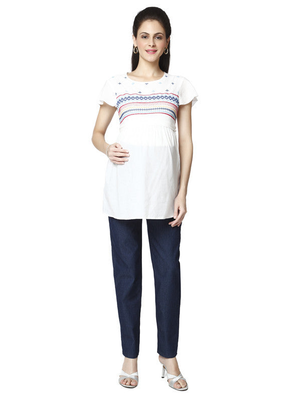 Nine Maternity White Bohemian Tunic