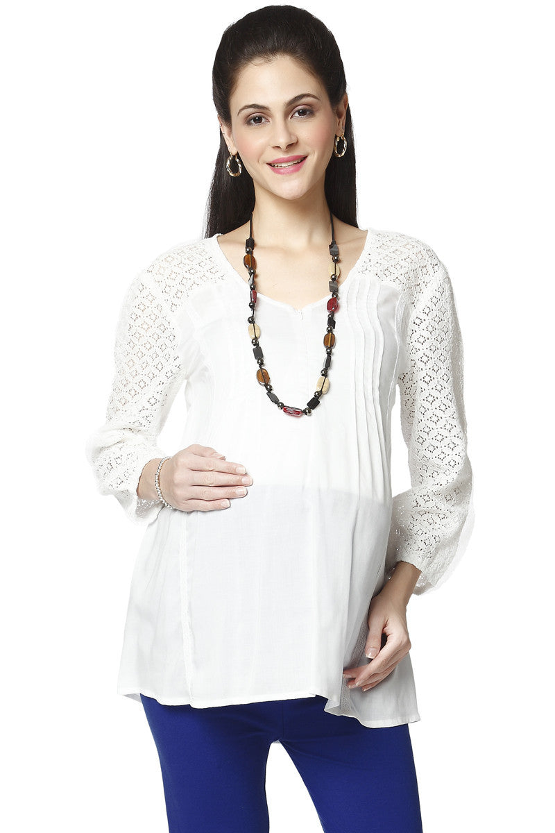 Nine Maternity White Chiffon Blouse