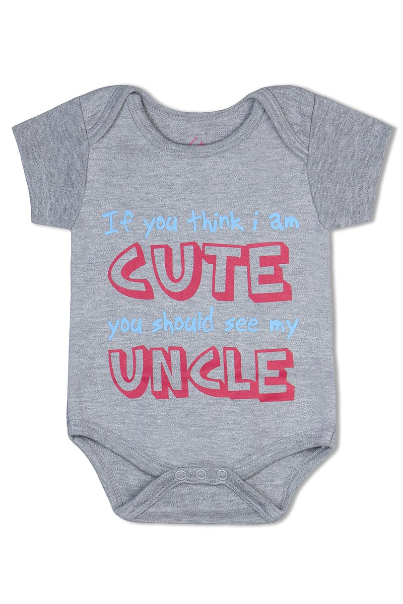 If you think I am cute you should see my uncle organic cotton baby romper