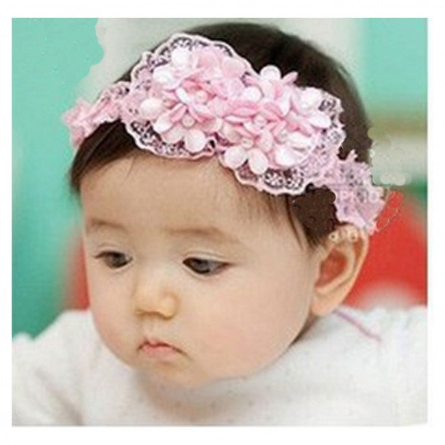 AkinosKIDS Pink Rosette Bow with Pearl Headband