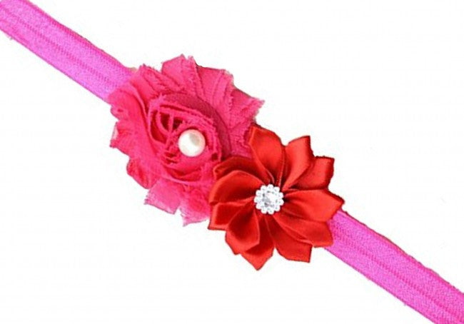 AkinosKIDS Fuchsia Pink Sunflower and Shabby Rose Headband