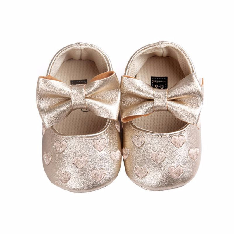 Bellazaara Girls' Golden Bowknot Moccasins Crib Shoes