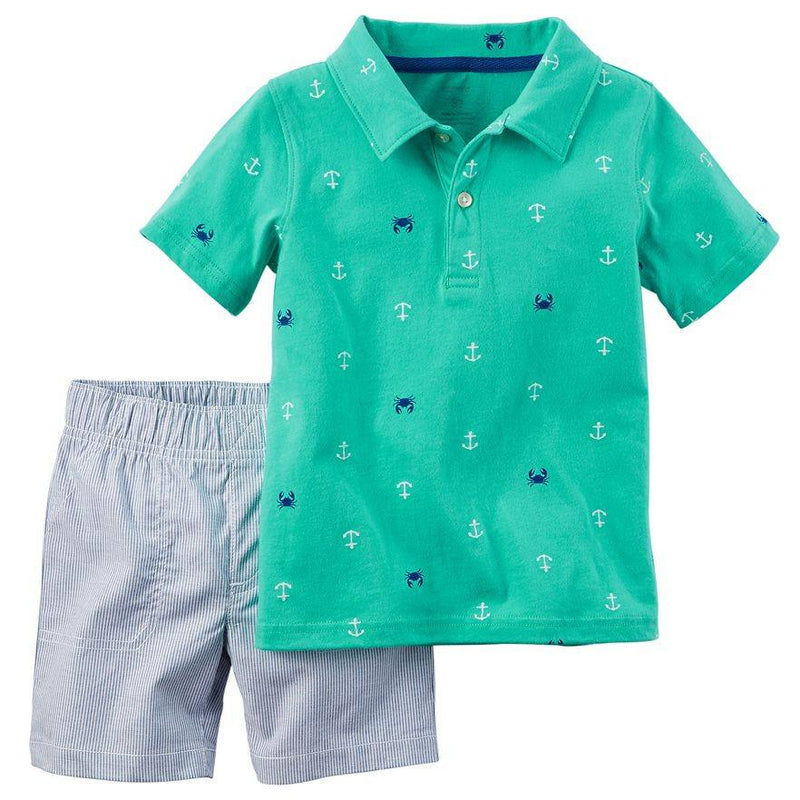 Baby Boy Carter's Anchor Polo & Striped Shorts Set
