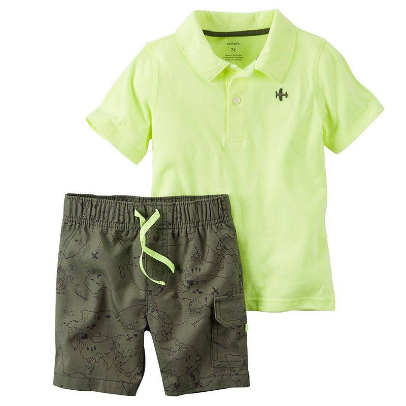Baby Boy Carter s Polo Shirt   Map Print Shorts Set e697d75b6f2a