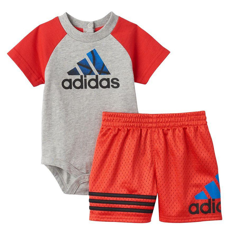 Baby Boy adidas Logo Colorblock Bodysuit & Shorts Set