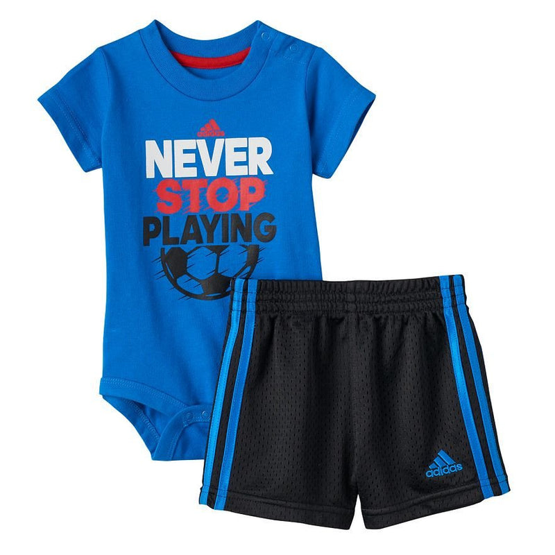 "Baby Boy adidas ""Never Stop Playing"" Tee & Shorts Set"