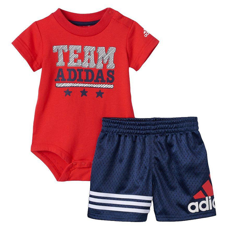 "Baby Boy adidas ""Team"" Bodysuit & Shorts Set"