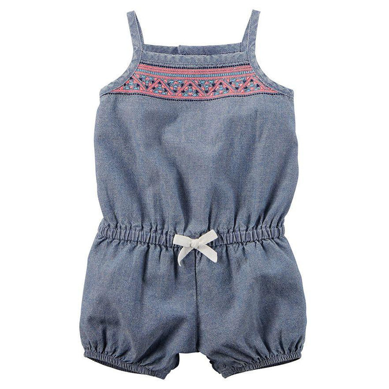 Baby Girl Carter's Embroidered Chambray Romper