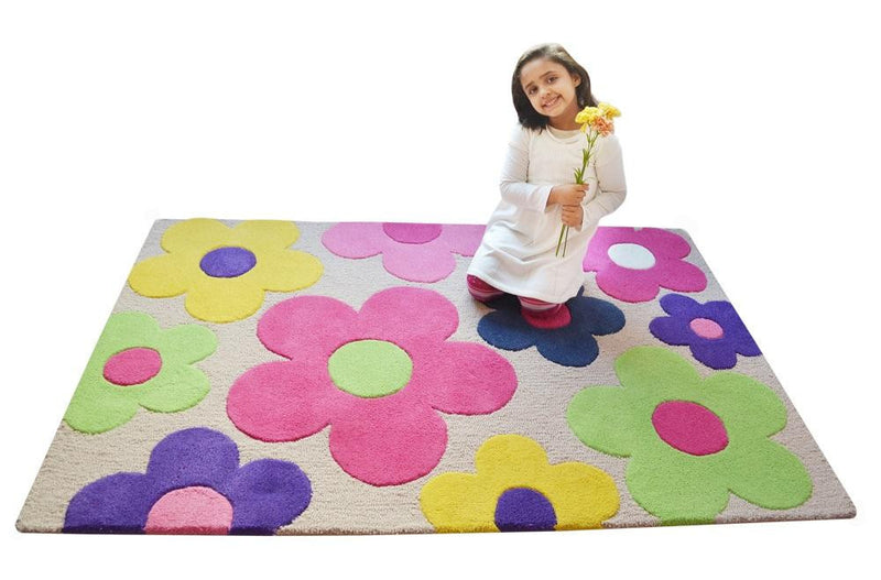 Littlelooms Beige Floral Kids Rug