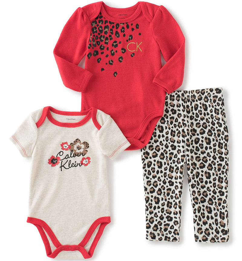 Calvin Klein Girls Red and Beige 3 Piece Creeper Pants Set