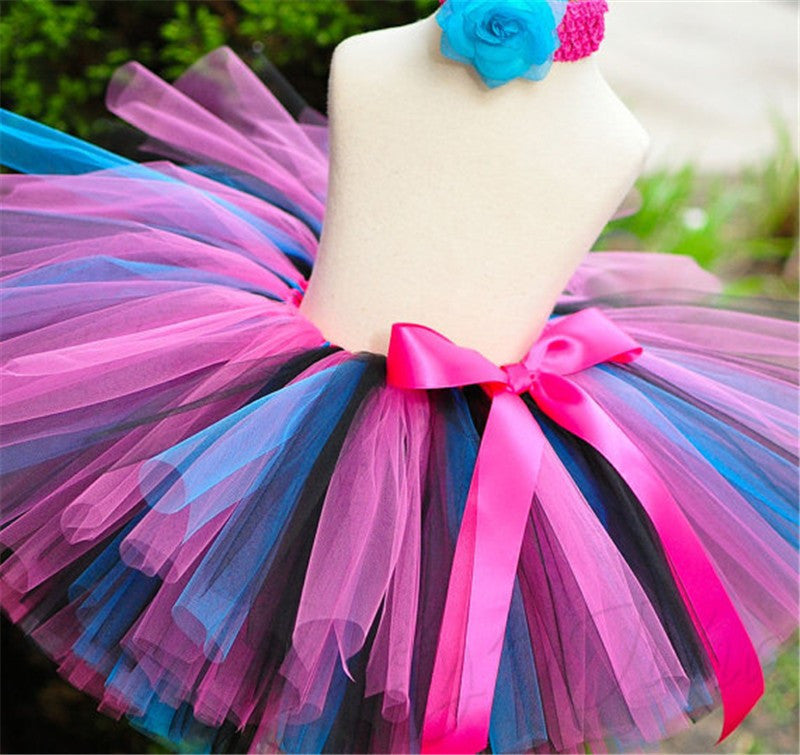 Meemu Girls' Pink and Blue Colory Surprise Tutu Skirt