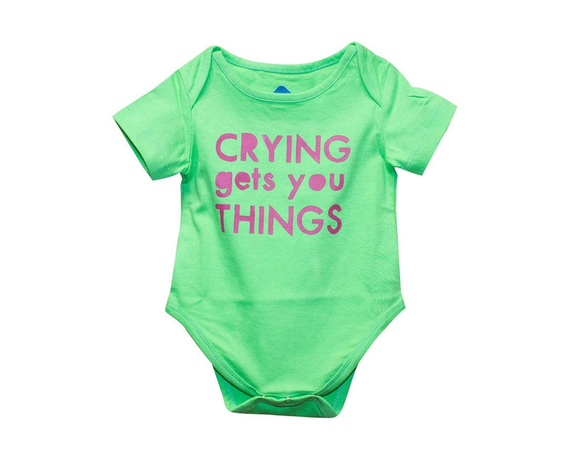 Blue Bus Store Green Crying Gets You Things Printed Romper
