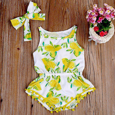 Meemu Girls' Yellow and White Tri Floral Printed Jumpsuit Onesie