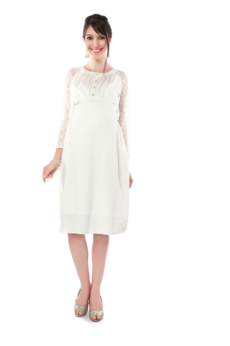 Nine Maternity White Party Wear Dress