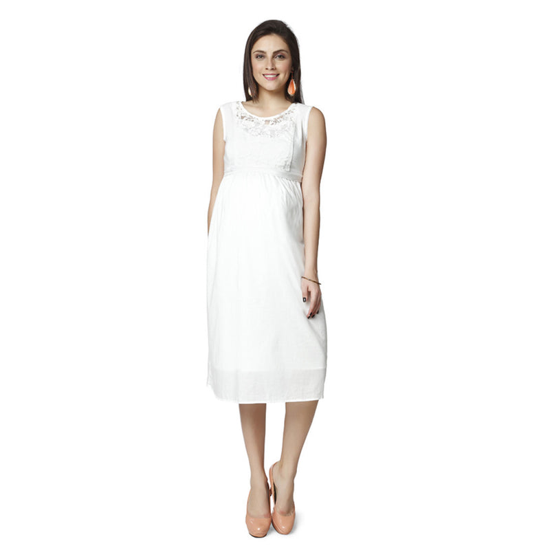 Nine Maternity White Dress with Detailed Lace