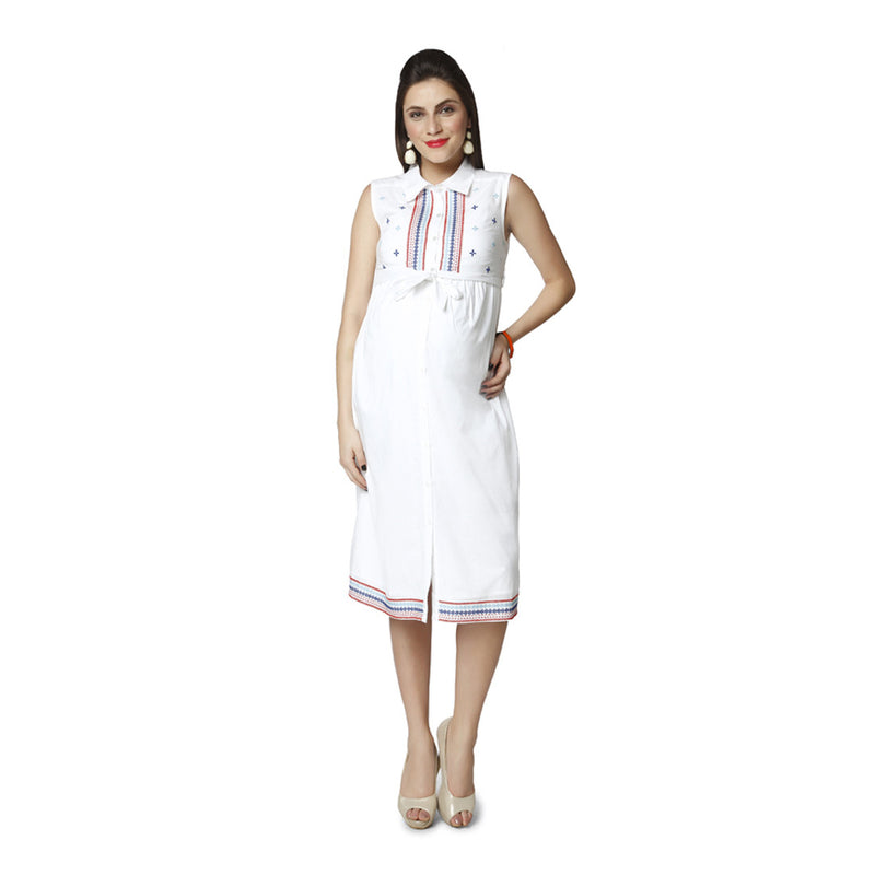 Nine Maternity White Boho Styled Sheath Dress