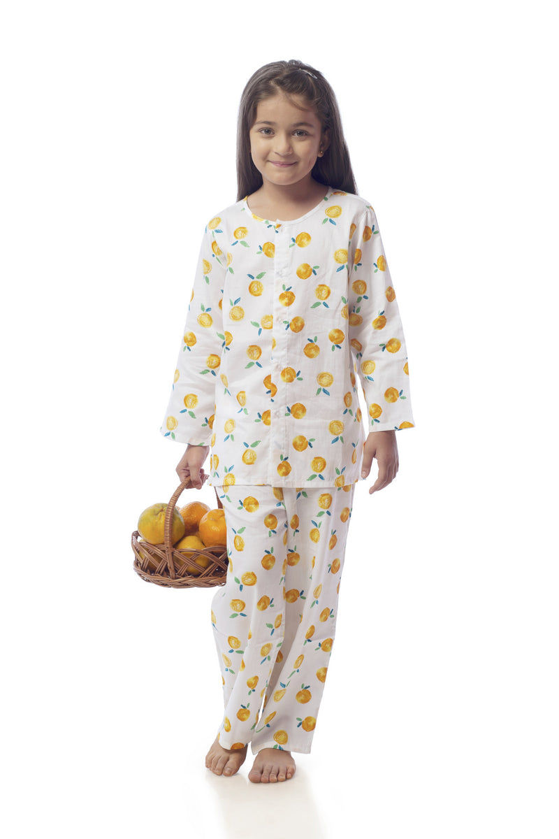 Popsicle & Nigh Nigh Girls White and Orange Tangerine Printed Night Wear