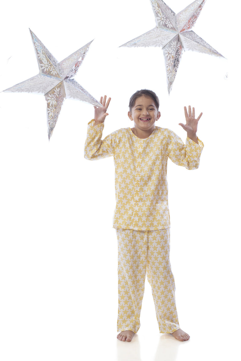 Popsicle & Nigh Nigh Girls Orange and White Star Printed Night Wear