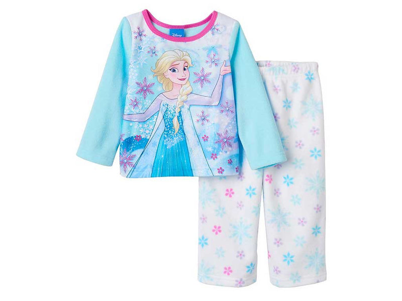 Disney's Frozen Elsa Toddler Girl Snowflake Fleece Pajama Set