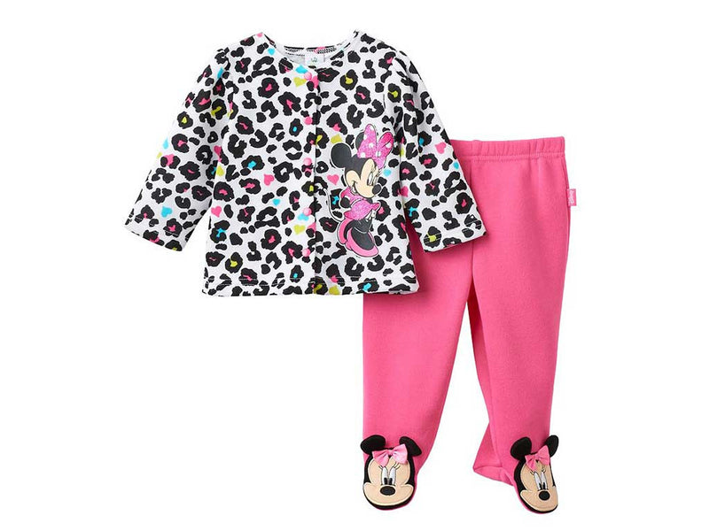 Disney's Minnie Mouse Baby Girl Cheetah Cardigan & Footed Leggings Set