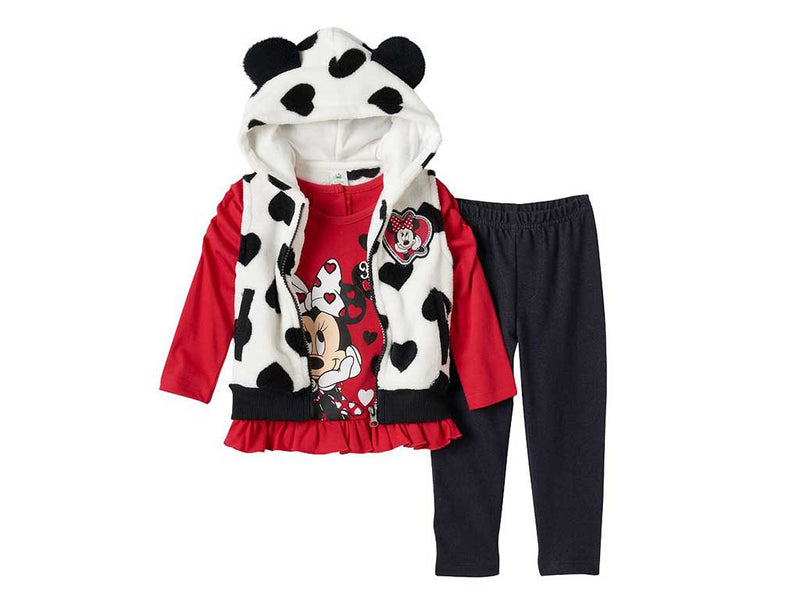 Disney's Minnie Mouse Baby Girl Hooded Vest, Top and Denim Leggings Set
