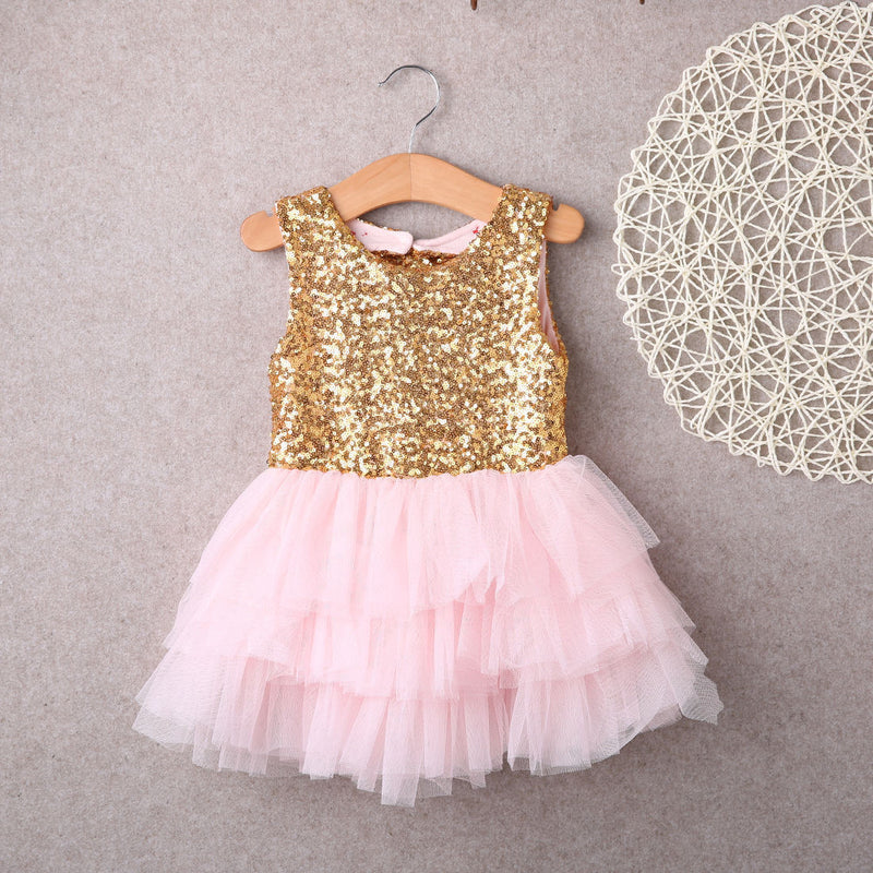 Meemu Girls' Gold and Pink Sequins Glow Party Wear Dress