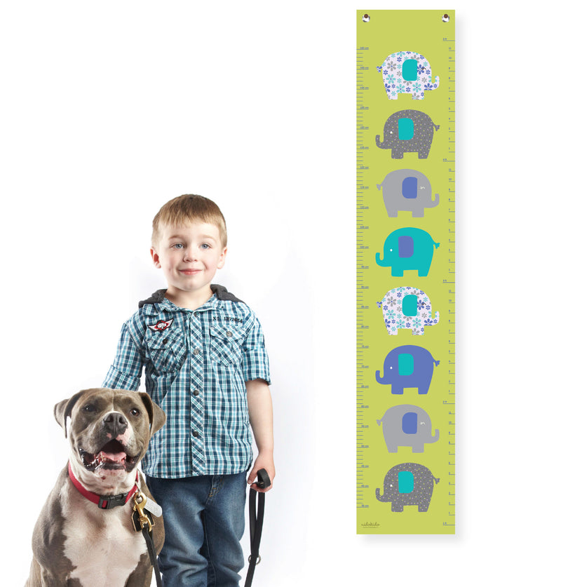 Nidokido Green Elephant Printed Height Measurement Growth Chart