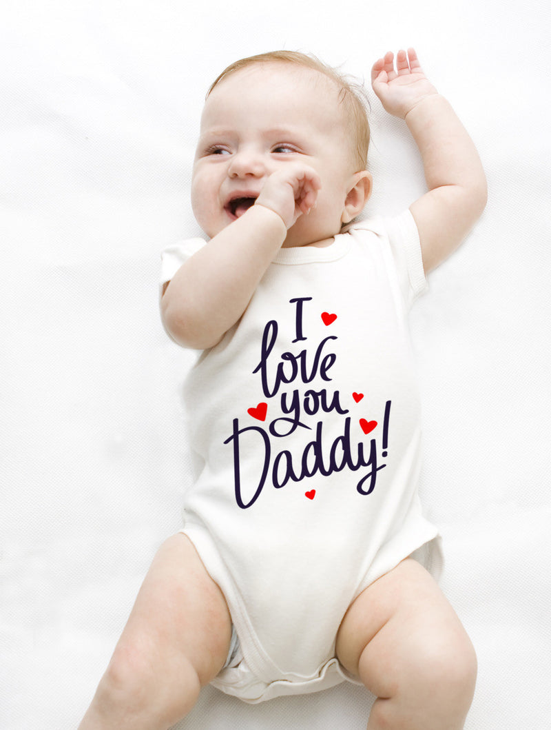 Esbe I Love You Daddy Hand Painted White Onesie