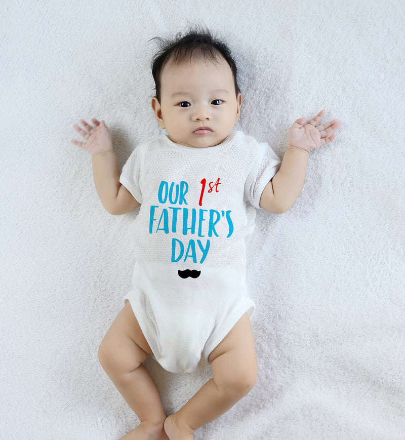 Esbe Our 1st Father's Day Hand Painted White Onesie