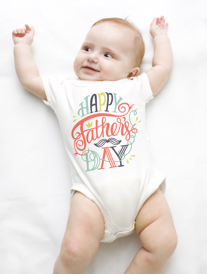 Esbe Happy Father's Day Multicolored Hand Painted White Onesie