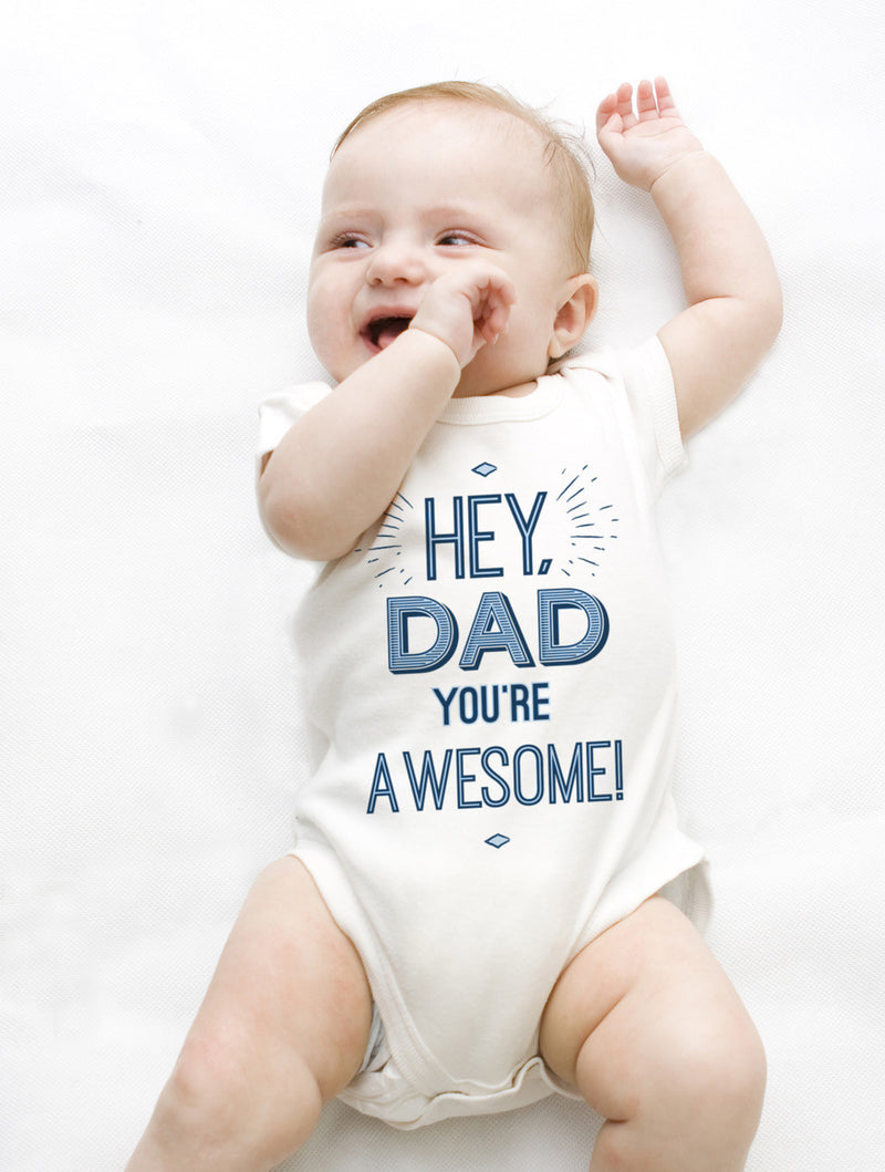 Esbe Hey, Dad You're Awesome! Hand Painted White Onesie