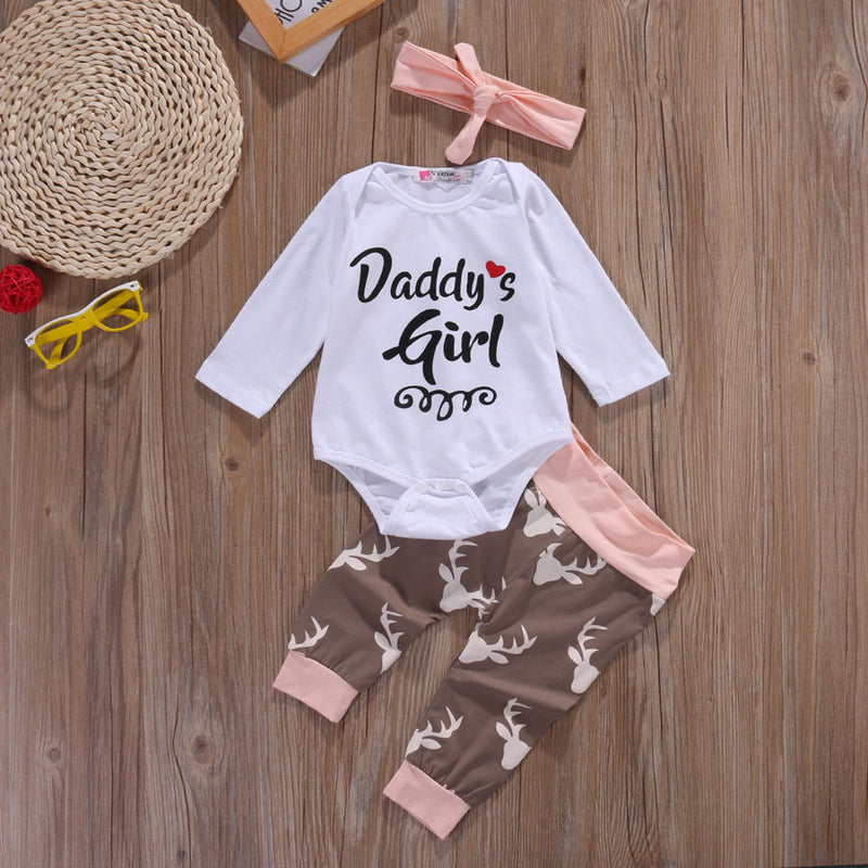 Meemu Girls' White and Pink Daddy's Girl Printed Onesie Set