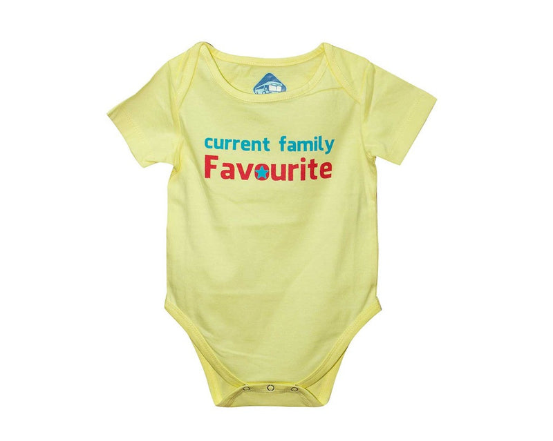 Blue Bus Store Yellow Current Family Favorite Printed Romper